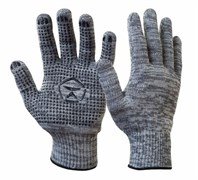 Перчатки х/б с ПВХ, серые (5 нитей)