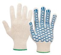 Перчатки х/б с ПВХ, волна, белые (4 нитей)